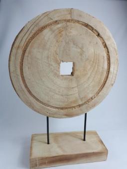 Designobjekt,dekorative Holzscheibe auf Fuss,46cm hoch