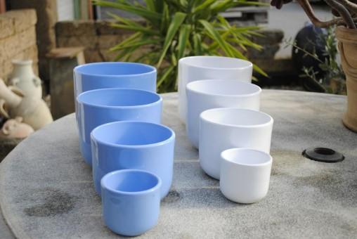 Übertöpfe,schlichte Form,hellblau oder weiß,4 Größen wählbar,2er Set