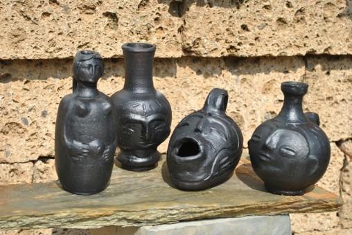 Afrikanische Vasen und Figuren,4er Set,Handarbeit,bis ca. 18cm
