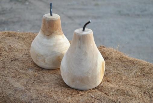 Birnen aus schön gemasertem Teak-Holz, 18cm hoch, 2er Set