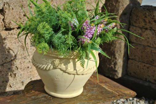 Blumenkübel,handgefertigt,bauchig,mit Girlande,Spanien,19cm Ø