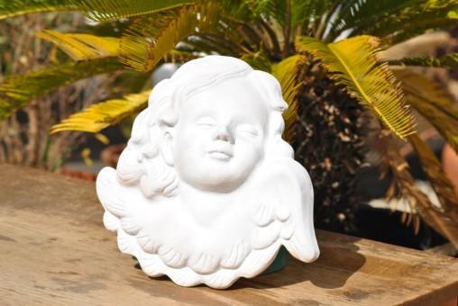 """Wandbild""""Engel,Putte"""",terracotta,weiß,34cm"""