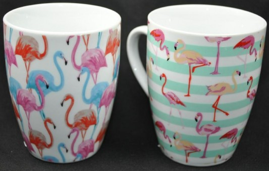 Kaffeebecher,Tassen,Flamingo,2er Set,hübsche Sortierung,10cm hoch