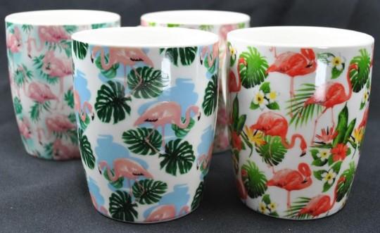 Kaffeebecher,Tassen,Flamingo,4er Set,hübsche Sortierung,10cm hoch