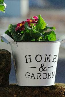 """Metalltöpfe,weiß,""""Home & Garden""""frische Frühlingsdeko,rund,2er Set"""