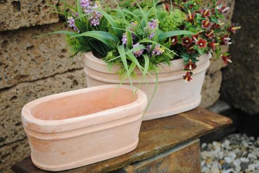 Blumenkasten,Pflanzkasten,helles terracotta,oval,31cm,2er Set