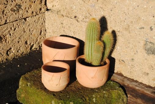 Pflanztöpfe im 3er Set,helle Terracotta,verziert,10/13/16cm,Preisreduziert!!