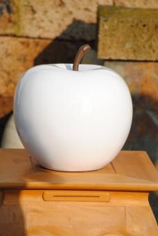 Deko-Apfel, Hochglanz poliert, Fiberglas, weiß