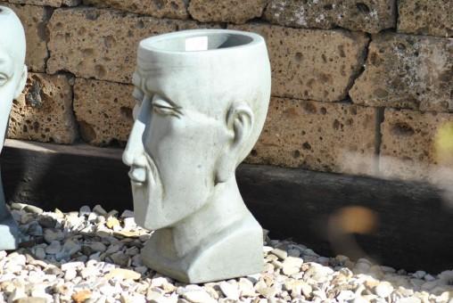 Männerkopf,bepflanzbar,Terracotta,grau,41cm