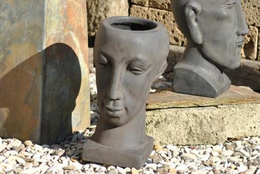 Frauenkopf, bepflanzbar, terracotta ,anthrazit/schwarz, 41cm, frostbeständig