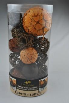 Dekokugeln aus Naturmaterialien,13teilig,bis 10cm