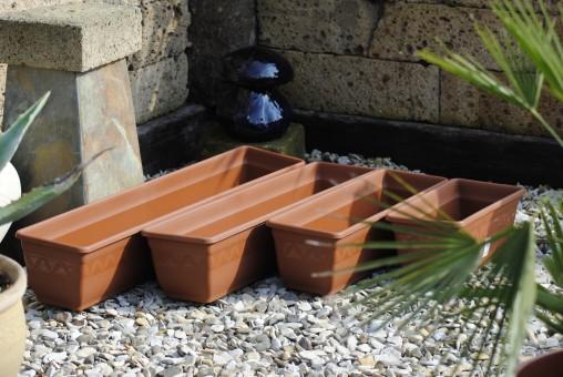 Pflanzkasten, Blumenkasten, 2er Set!! mit Wasserspeicher; Kunststoff, terracottafarben