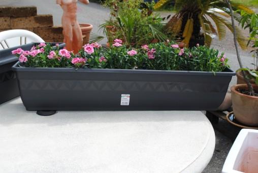 Pflanzkasten, Blumenkasten, 2er Set!! mit Wasserspeicher; Kunststoff, anthrazit,40cm