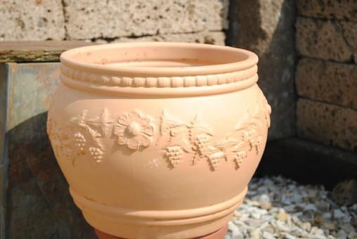 Pflanztopf mit Weinmotiv,Spanien,Terracotta,32cm
