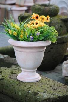 Blumenkübel,Pokal,frostfest,Handarbeit,helles Terracotta,32cm
