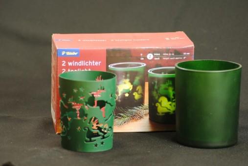 Windlicht,Teelichtglas,2er Set,grün,Tchibo,incl.Teelichte