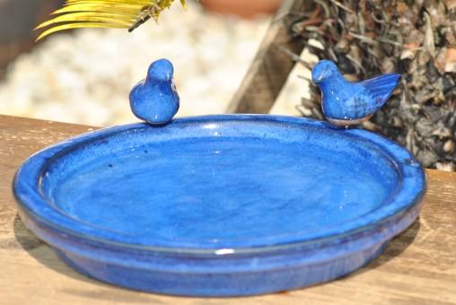 Vogeltränke mit zwei kleinen Vögelchen,rund,30cm blau