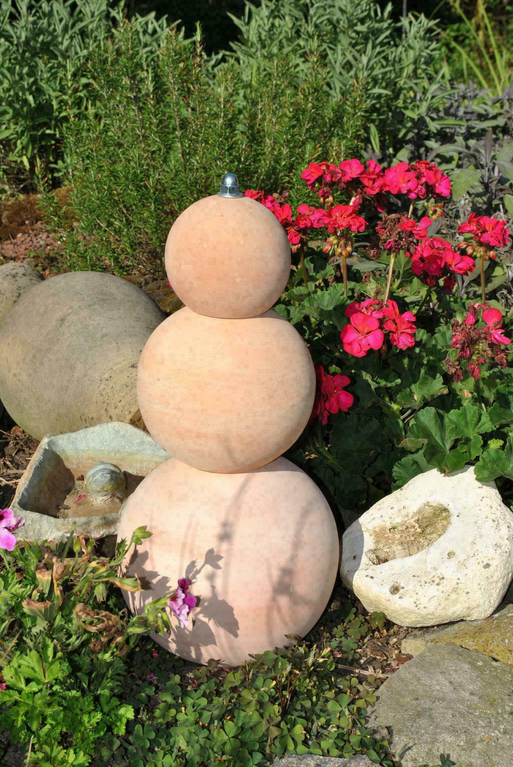Kunert Keramik Garten Stele Aus Drei Terracottakugeln Frostfest